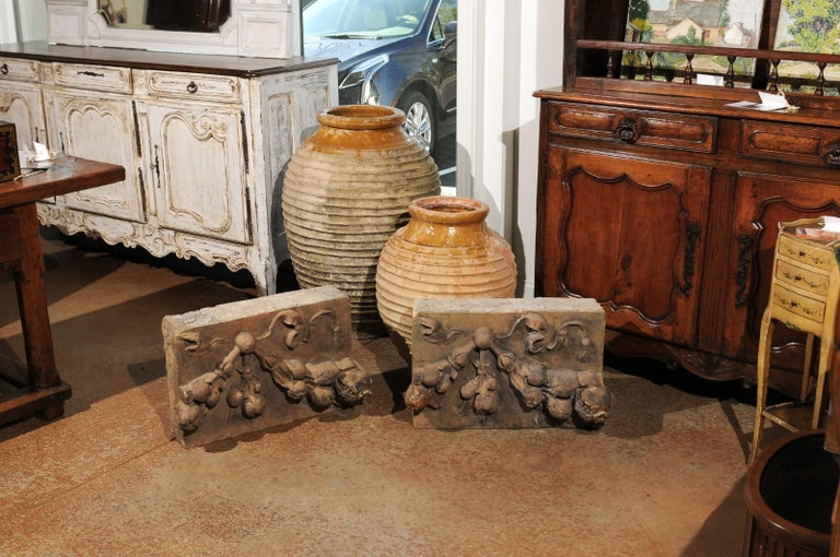 Pair of French 1860s Napoleon III Terracotta Architectural Fragments with Fruits In Good Condition For Sale In Atlanta, GA