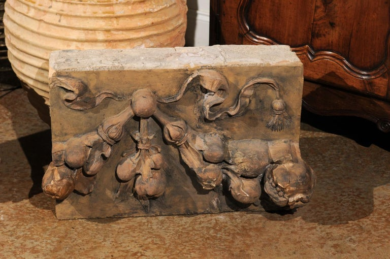 19th Century Pair of French 1860s Napoleon III Terracotta Architectural Fragments with Fruits For Sale
