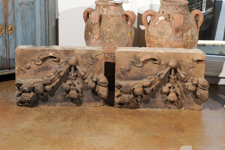 Pair of French 1860s Napoleon III Terracotta Architectural Fragments with Fruits For Sale 1