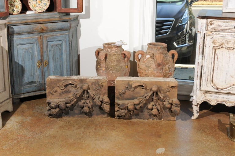Pair of French 1860s Napoleon III Terracotta Architectural Fragments with Fruits For Sale 2