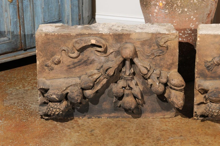 Pair of French 1860s Napoleon III Terracotta Architectural Fragments with Fruits For Sale 3