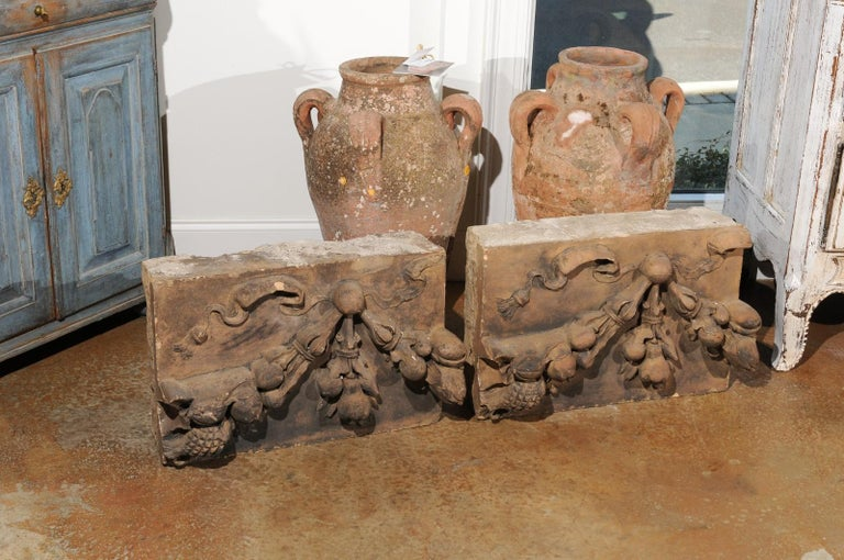 Pair of French 1860s Napoleon III Terracotta Architectural Fragments with Fruits For Sale 5
