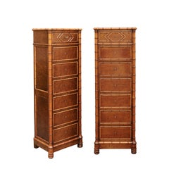 Pair of French, 1870s Faux-Bamboo and Burlwood Semainiers with Marble Tops