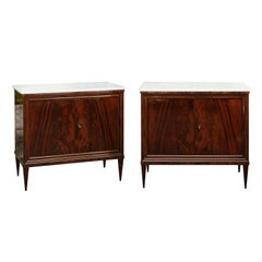 Pair of French 1870s Louis-Philippe Style Mahogany Cabinets with Marble Tops