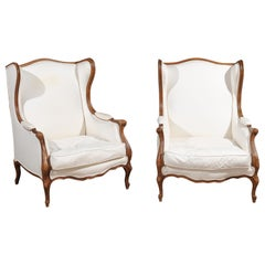 Pair of French 1870s Louis XV Style Bergères à Oreilles with New Upholstery
