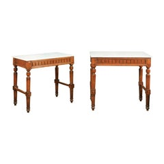 Pair of French 1870s Neoclassical Style Wooden Console Tables with Marble Tops