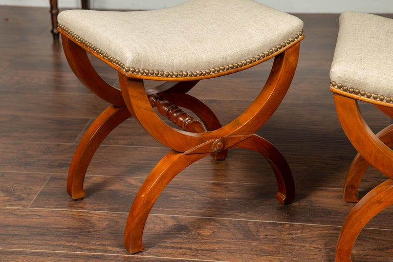Pair of French 1880s Walnut Empire Style Curule Stools with New Upholstery For Sale 6