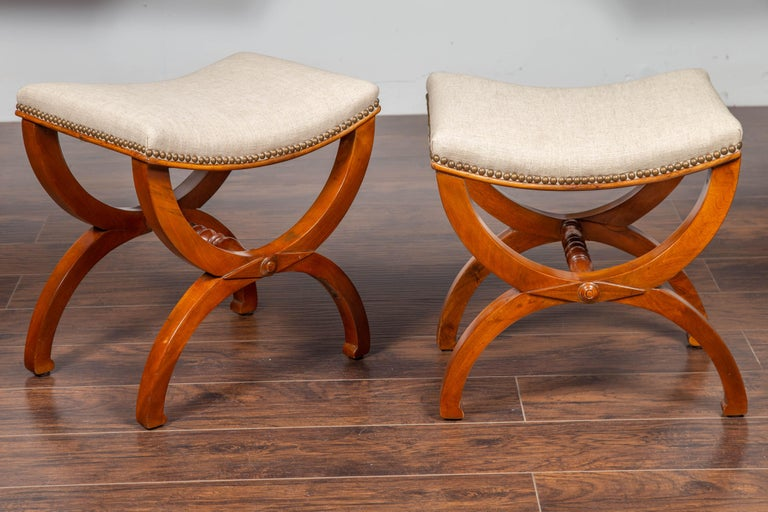 Pair of French 1880s Walnut Empire Style Curule Stools with New Upholstery In Good Condition For Sale In Atlanta, GA