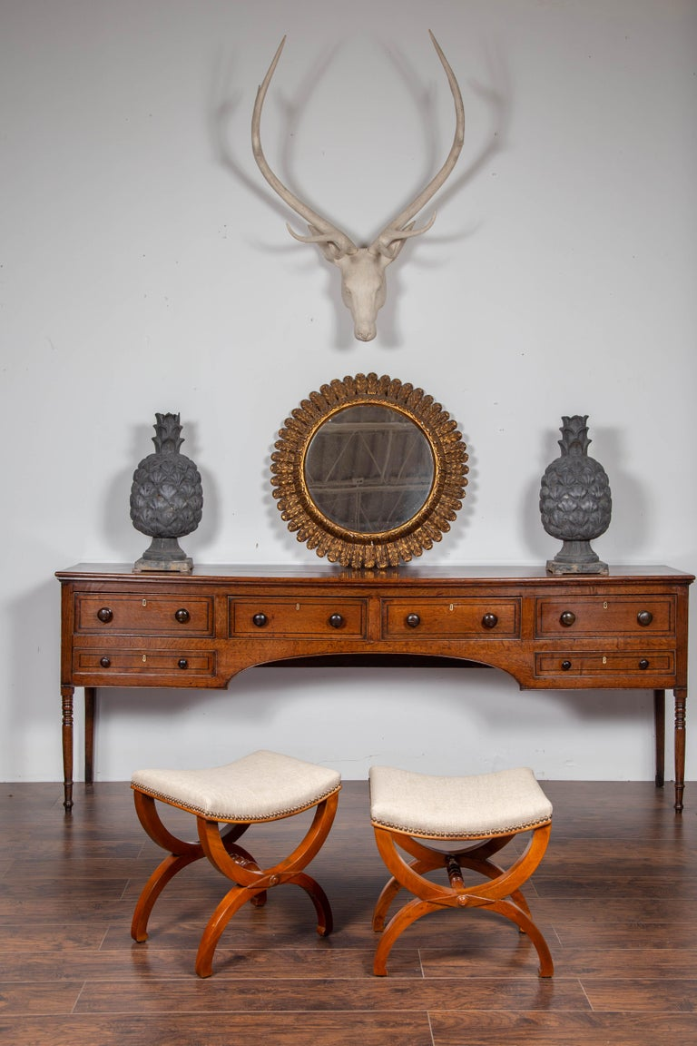 19th Century Pair of French 1880s Walnut Empire Style Curule Stools with New Upholstery For Sale