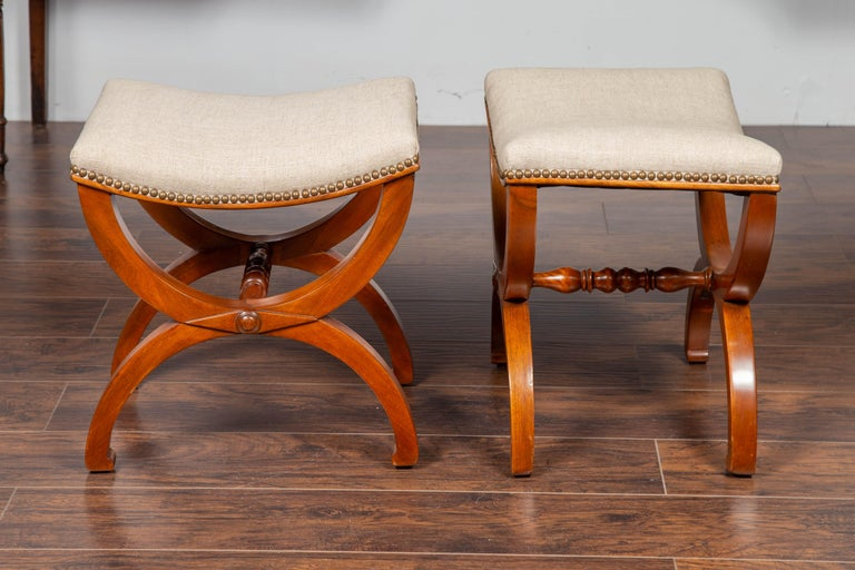 Pair of French 1880s Walnut Empire Style Curule Stools with New Upholstery For Sale 1