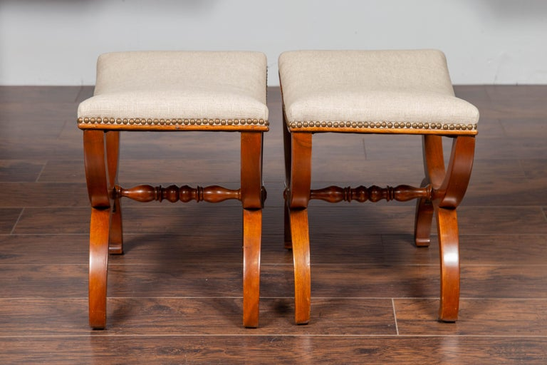 Pair of French 1880s Walnut Empire Style Curule Stools with New Upholstery For Sale 2
