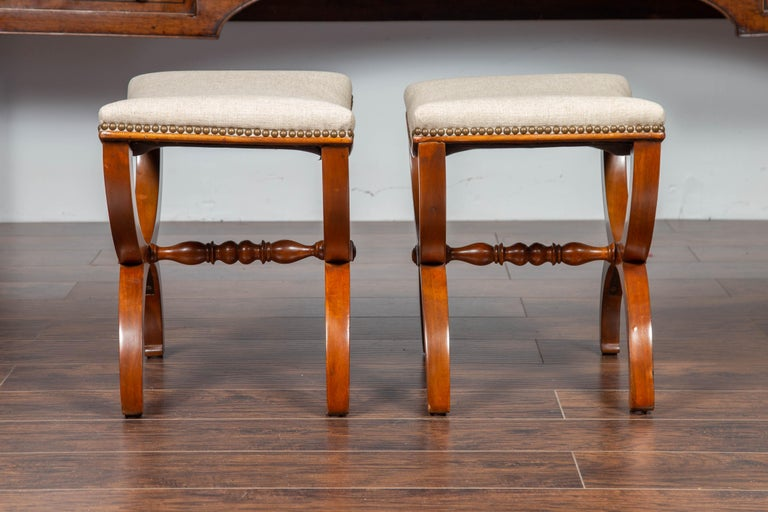 Pair of French 1880s Walnut Empire Style Curule Stools with New Upholstery For Sale 3