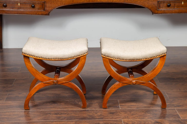 Pair of French 1880s Walnut Empire Style Curule Stools with New Upholstery For Sale 4