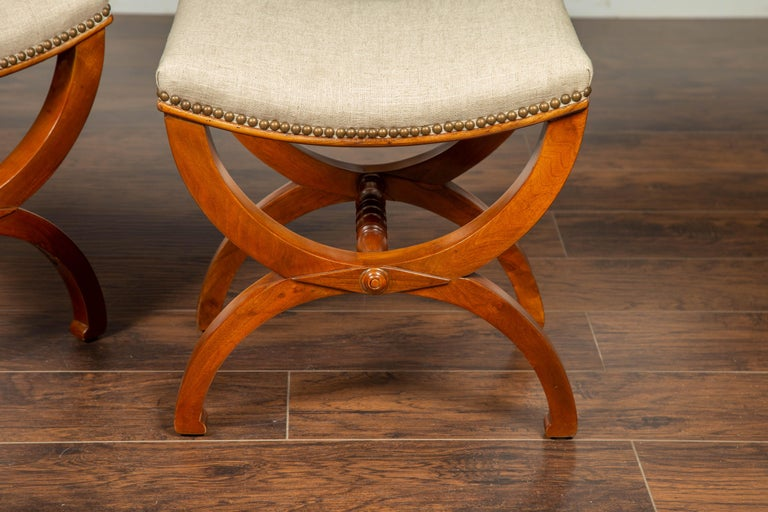 Pair of French 1880s Walnut Empire Style Curule Stools with New Upholstery For Sale 5
