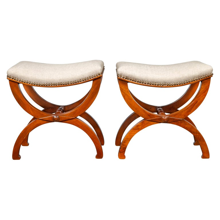 Pair of French 1880s Walnut Empire Style Curule Stools with New Upholstery For Sale
