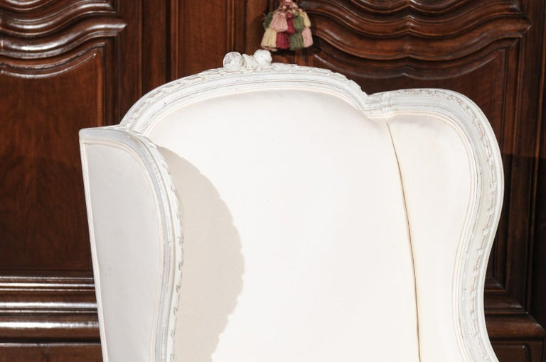 Pair of French 1890s Louis XVI Style Painted Wood Bergère Chairs with Upholstery In Good Condition For Sale In Atlanta, GA