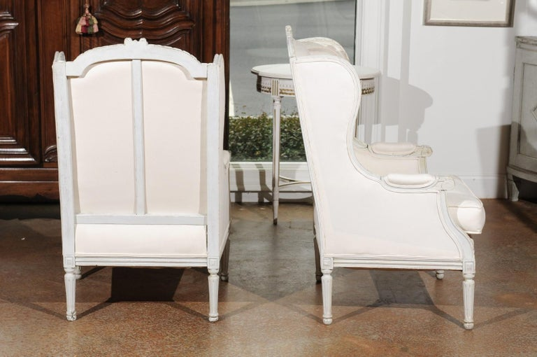 Pair of French 1890s Louis XVI Style Painted Wood Bergère Chairs with Upholstery For Sale 1