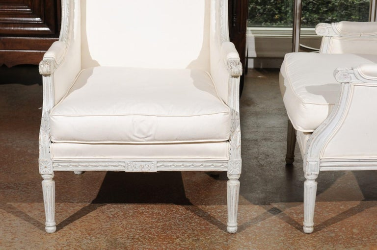 Pair of French 1890s Louis XVI Style Painted Wood Bergère Chairs with Upholstery For Sale 4