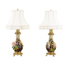 Pair of French 1890s Majolica Vases with Raised Roses Mounted into Table Lamps