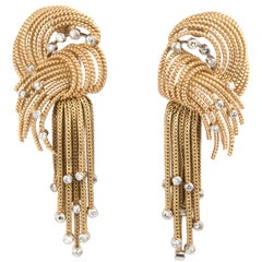 Pair of French 18k Yellow Gold and Diamond Knot Pendant Earrings