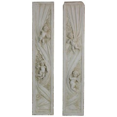 Pair of French 18th-19th Century Carved Wooden Panels with Angels