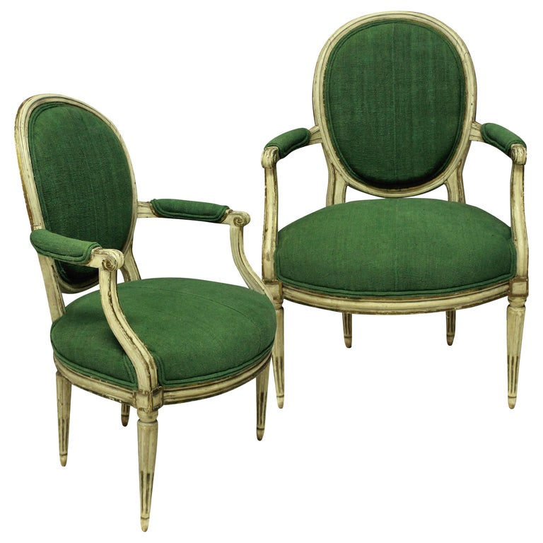 Pair of French 18th Century Armchairs in 19th Century Hand Died Linen