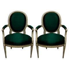 Pair of French 18th Century Armchairs in Emerald Silk
