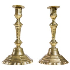 Pair of French 18th Century Brass Candlesticks Rare Decoration Free Shipping