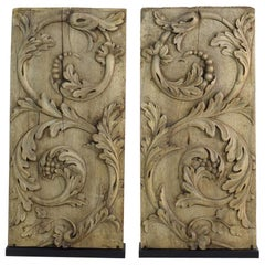 Pair of French 18th Century Carved Wooden Baroque Panels with Curls