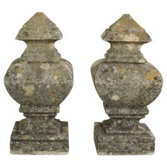 Pair of French 18th Century Hand Carved Limestone Finials