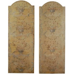 Pair of French 18th Century Hand-Painted Decorative Panels with Fruits and Birds