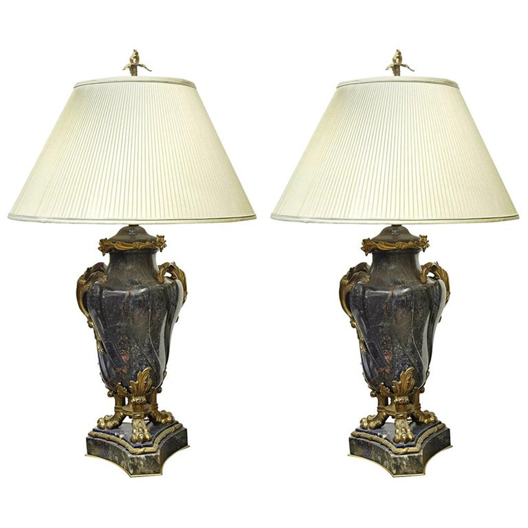 Pair of French 18th Century Lapis Lazuli Bronze Mounted Cassolettes as Lamps For Sale