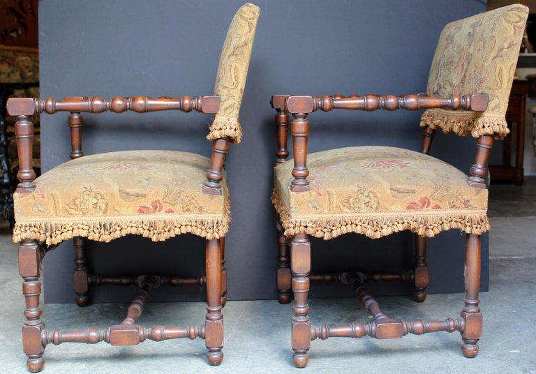 Pair of French Louis XIII Armchairs For Sale 4
