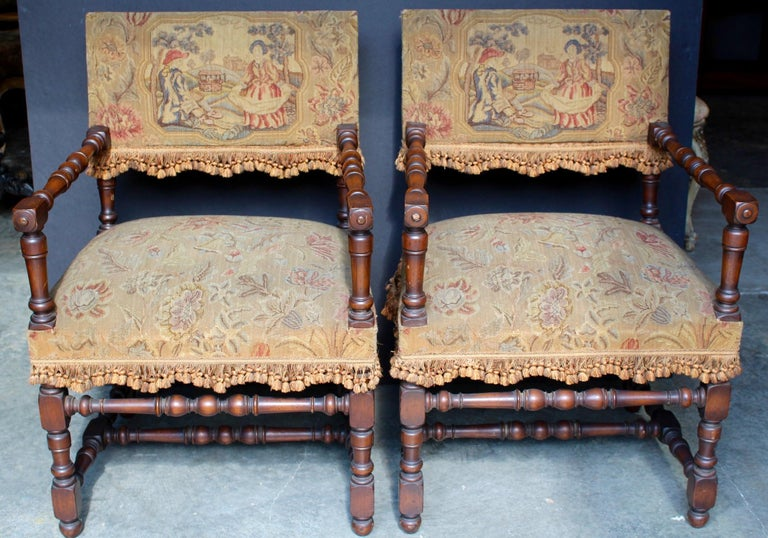 Very attractive and comfortable chair a Bras (i.e. Chair with arms) from the 18th century. Made in Louis XIII style. Very sturdy chairs with a frame in richly patinated walnut being turned out of square pieces of wood.