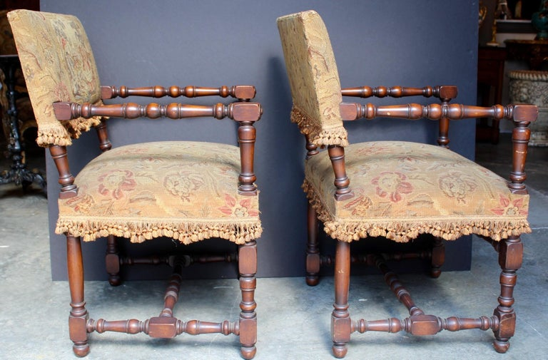 Pair of French Louis XIII Armchairs For Sale 2