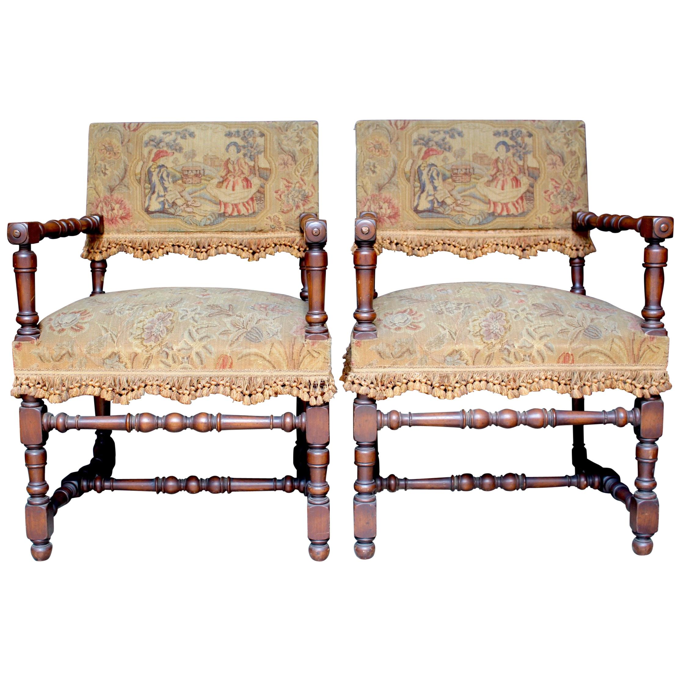 Pair of French Louis XIII Armchairs