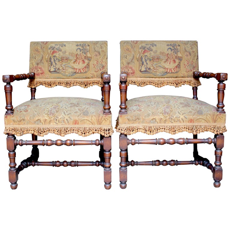 Pair of French Louis XIII Armchairs For Sale