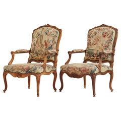 Pair of French 18th Century Louis XV Armchairs with Aubusson Tapestry