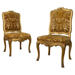 Pair of French 18th Century Louis XV Giltwood Side Chairs Upholstered
