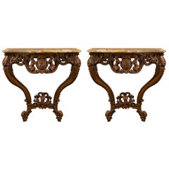 Pair of French 18th Century Louis XV Period Oak and Marble Consoles