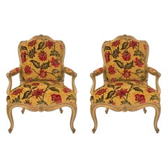 Pair of French 18th Century Louis XV Period Patinated Armchairs