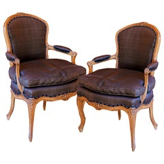 Pair of French 18th Century Louis XV Walnut Armchairs