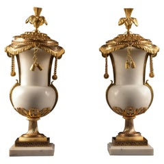 Pair of French 18th Century Louis XVI Carrara Marble & Ormolu Cassolettes/ Urns