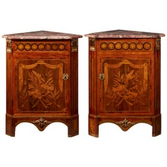 Pair of French 18th Century Louis XVI Corner Cabinets with Flower Marquetry