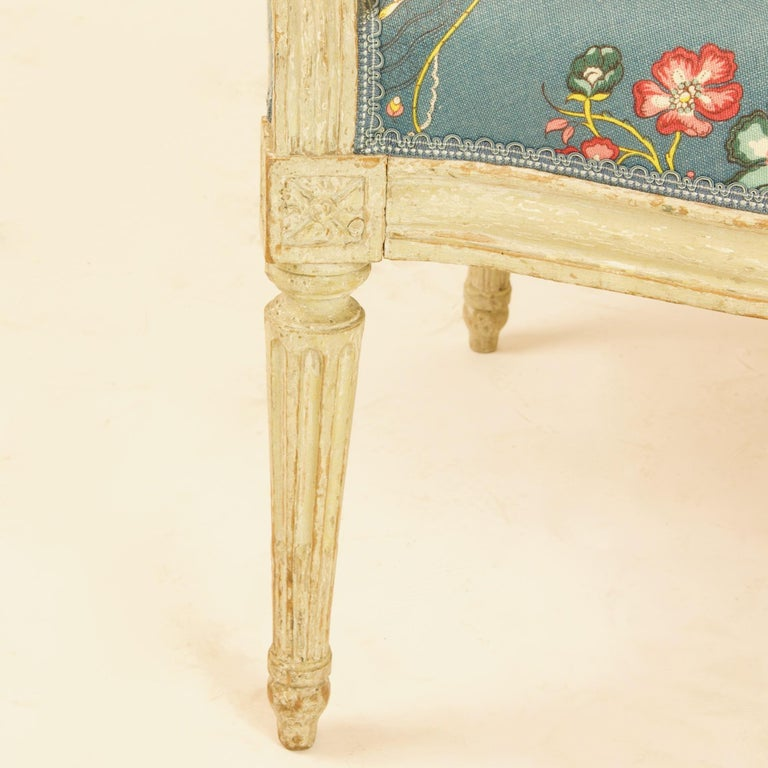 Pair of French 18th Century Louis XVI Painted Wood Armchairs by George Jacob For Sale 5