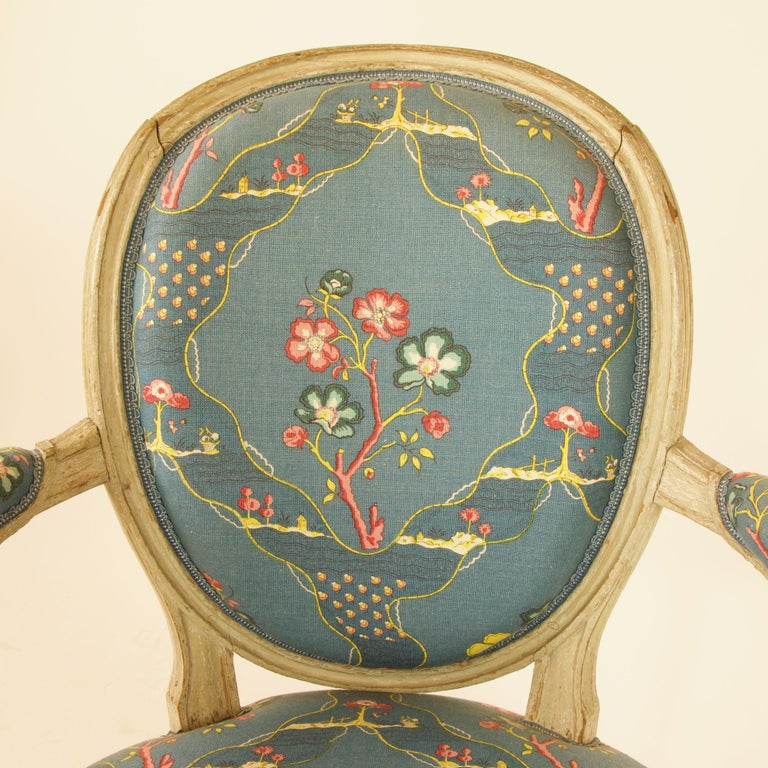 Pair of French 18th Century Louis XVI Painted Wood Armchairs by George Jacob For Sale 6