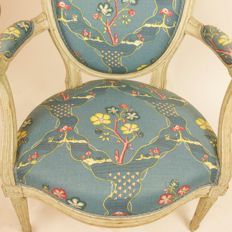 Pair of French 18th Century Louis XVI Painted Wood Armchairs by George Jacob For Sale 7