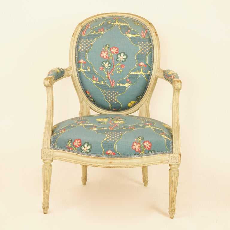Pair of French 18th century Louis XVI painted wood armchairs by George Jacob (1739-1814)  A pair of Louis XVI period armchairs or fauteuils