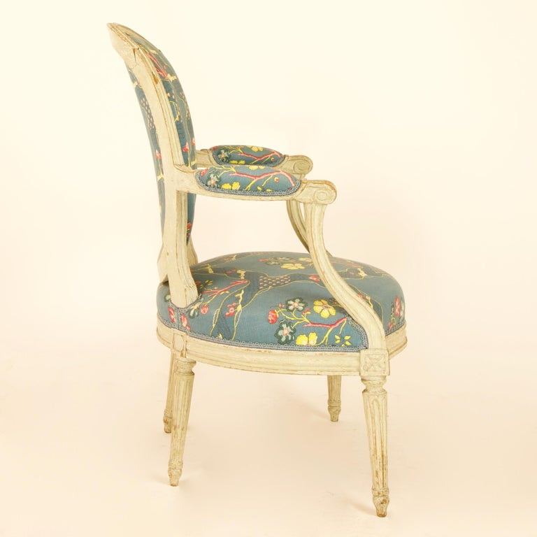Late 18th Century Pair of French 18th Century Louis XVI Painted Wood Armchairs by George Jacob For Sale