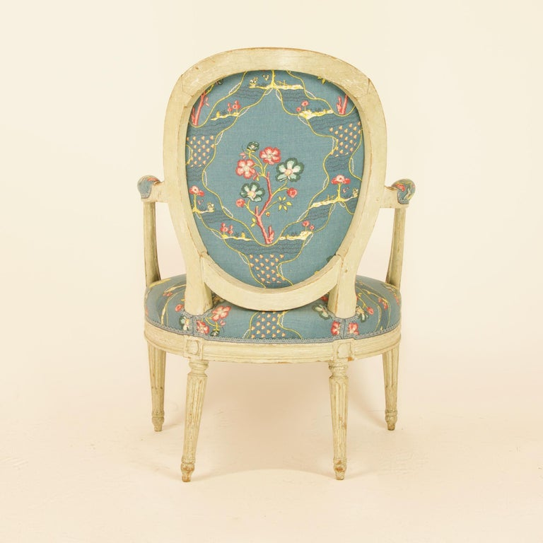 Beech Pair of French 18th Century Louis XVI Painted Wood Armchairs by George Jacob For Sale